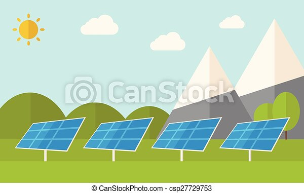four solar panels four solar panels standing under the heat of the rh canstockphoto com solar energy clipart images Solar Energy Systems