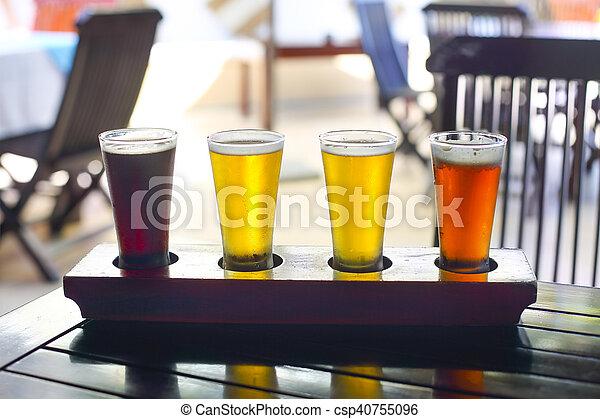 Four sorts of beer. Beer tasting - csp40755096