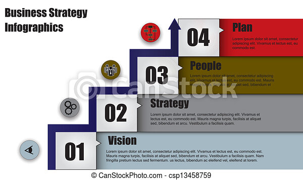 four step business strategy & Arrow - csp13458759