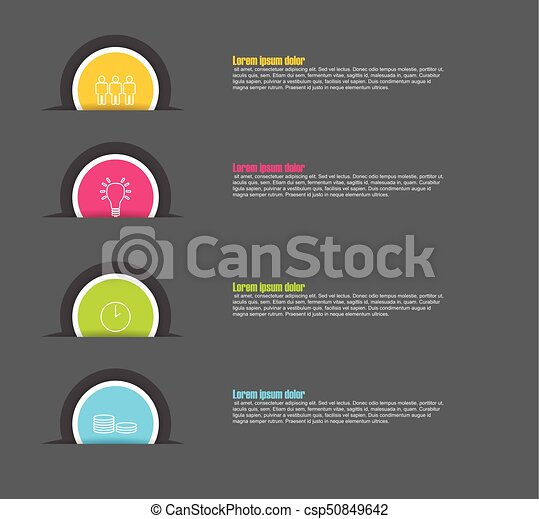 four step paper circle vector infographic template with icons - csp50849642