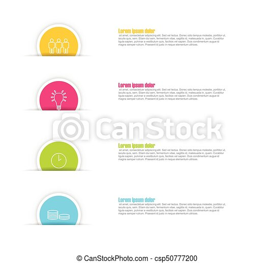 four step paper circle vector infographic template with icons - csp50777200