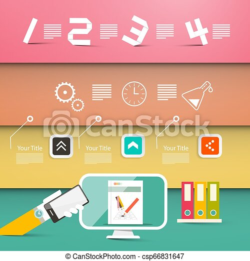 Four Steps Website or Infographic Vector Design with Computer and Icons - csp66831647