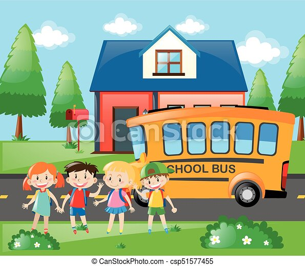 four students going home by school bus illustration