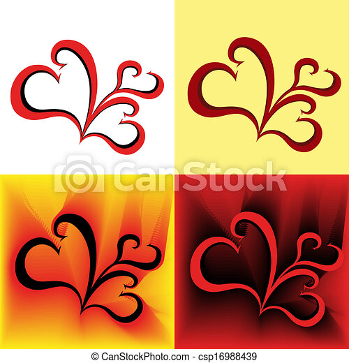 Four stylized swirl images as a hearts  - csp16988439