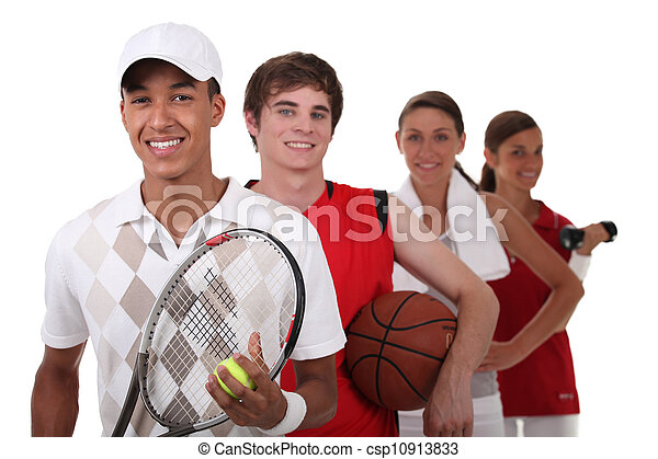 Four teenagers dressed for different sports - csp10913833