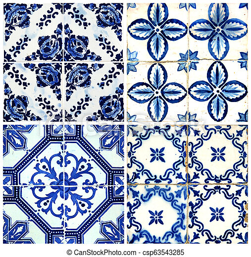 Four tiles in blue - csp63543285