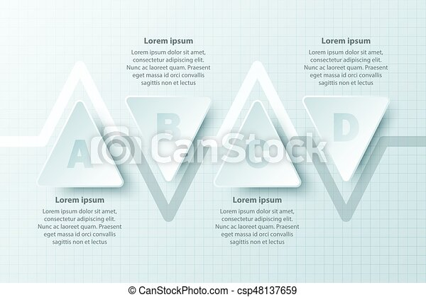 clipart vector of four topics simple white paper d triangle on four topics simple white paper 3d triangle on timeline for website presentation cover poster vector design