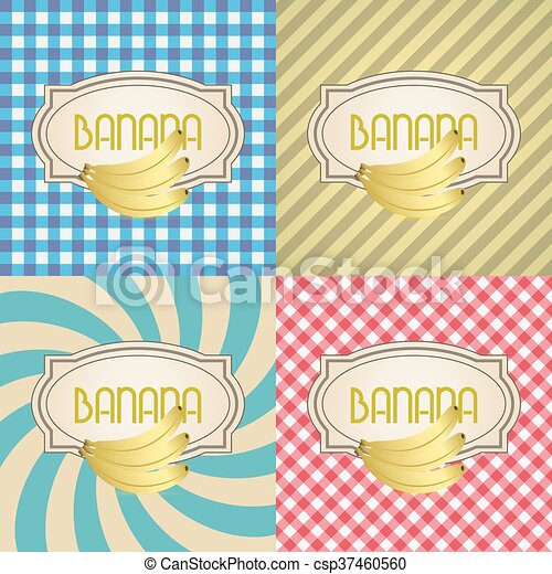 four types of retro textured labels for banana eps10 - csp37460560