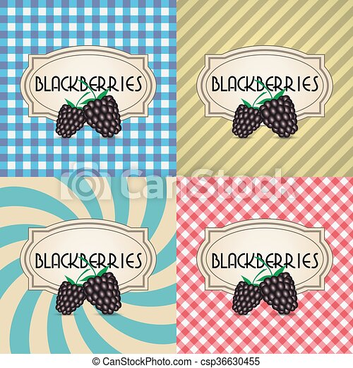 four types of retro textured labels for blackberries eps10 - csp36630455