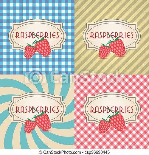 four types of retro textured labels for raspberries eps10 - csp36630445