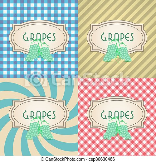 four types of retro textured labels for grapes eps10 - csp36630486