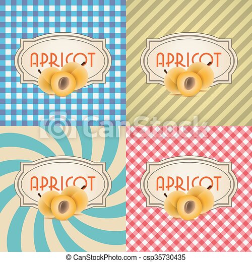 four types of retro textured labels for apricots eps10 - csp35730435
