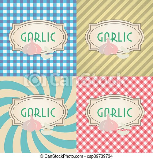 four types of retro textured labels for garlic eps10 - csp39739734