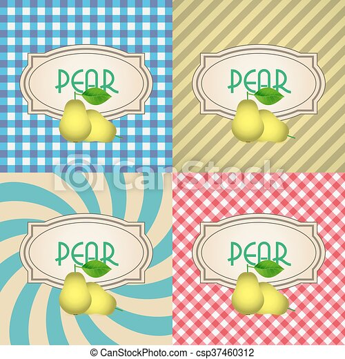 four types of retro textured labels for pear eps10 - csp37460312
