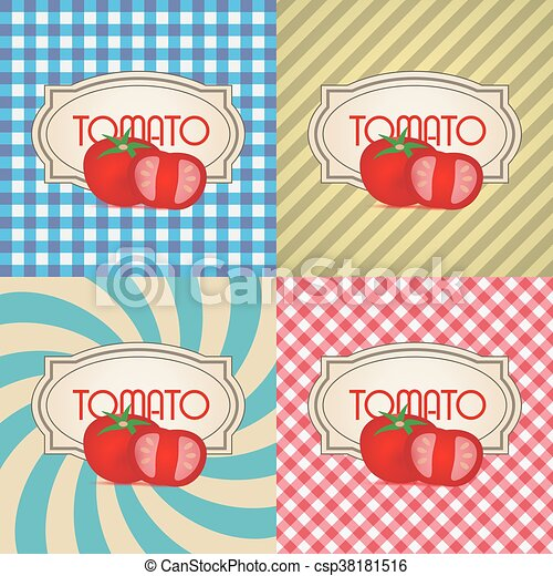 four types of retro textured labels for tomato eps10 - csp38181516