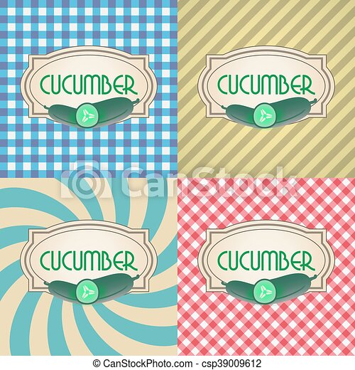 four types of retro textured labels for cucumber eps10 - csp39009612