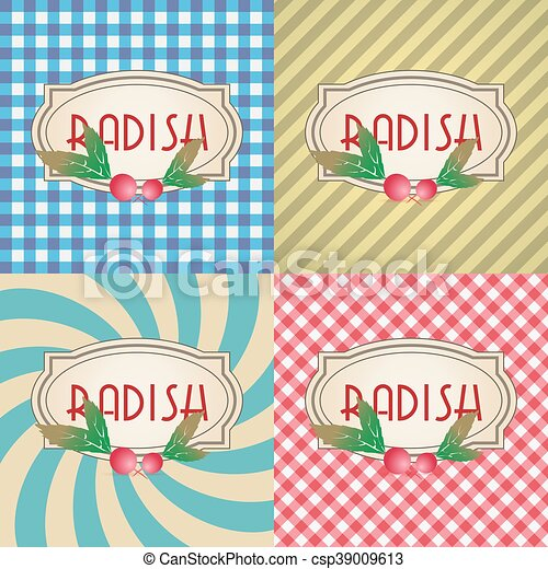 four types of retro textured labels for radish eps10 - csp39009613