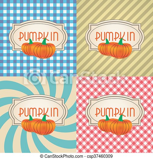 four types of retro textured labels for pumpkin eps10 - csp37460309