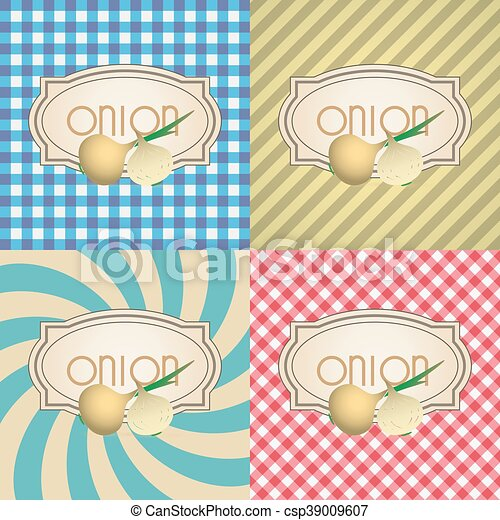 four types of retro textured labels for onion eps10 - csp39009607