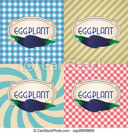 four types of retro textured labels for eggplant eps10 - csp39009609