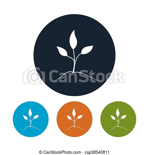 Four Types of Round Icons Sprout - csp38540811