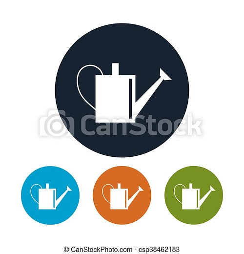 Four Types of Round Icons Watering Can - csp38462183
