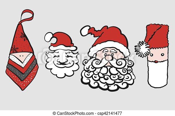 Four various sketched Santa Claus Heads - csp42141477