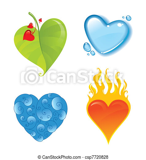 Four vector different valentines heart - csp7720828