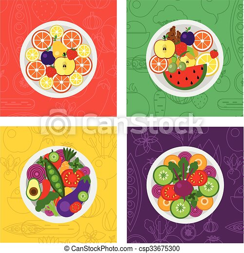 four vector flat illustrations of salads and fruit meals on plate - csp33675300