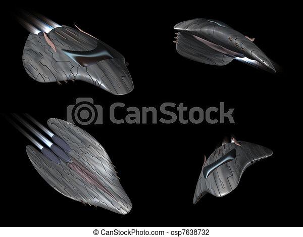 Four views of a powerful spaceship - csp7638732