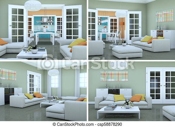 Four views of modern interior loft design d illustration