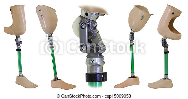 Four views of prosthetic legs and knee mechanism isolated on white - csp15009053