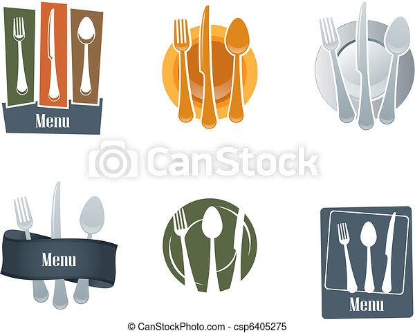 fourchette, logo, cuillère, restaurant - csp6405275
