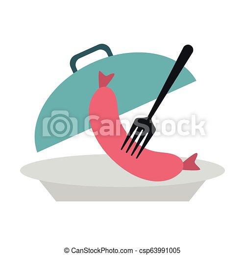 fourchette, plat, saucisse, dôme - csp63991005