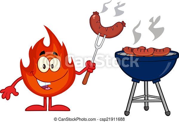 fourchette, saucisse, flamme, heureux - csp21911688