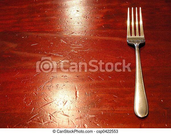 fourchette, table, puits, porté - csp0422553