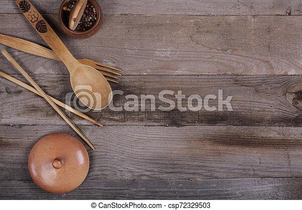 fourchette, vieux, bois, ustensiles, cuillère, tire-bouchon, table, cuisine - csp72329503