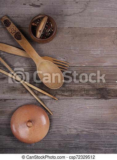 fourchette, vieux, bois, ustensiles, cuillère, tire-bouchon, table, cuisine - csp72329512