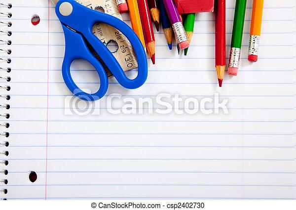fournitures, école, portables, assorti - csp2402730