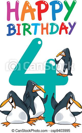 fourth birthday anniversary design - csp9403995