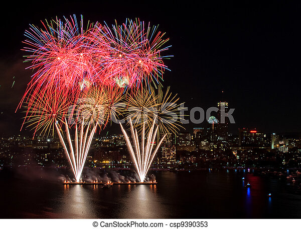 Fourth of July Fireworks in Boston - csp9390353