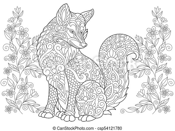 Wild Fox And Summer Or Spring Flowers Freehand Sketch Drawing For Adult Coloring Book Page With Doodle Zentangle Elements