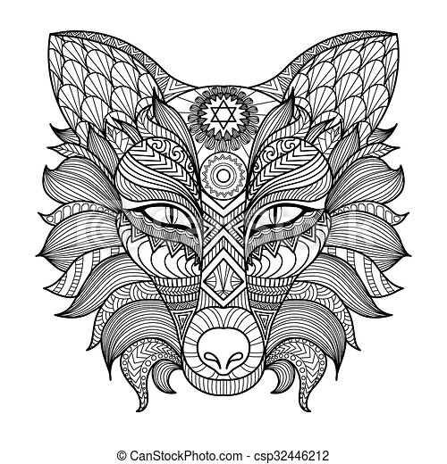 Fox coloring page. Fox line art design for coloring book for adult ...