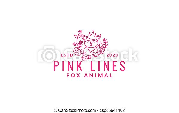 fox  cute  cartoon with plant flower line logo icon vector illustration - csp85641402