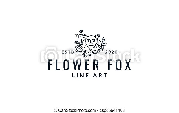 fox  cute  cartoon with plant  line logo icon vector illustration - csp85641403