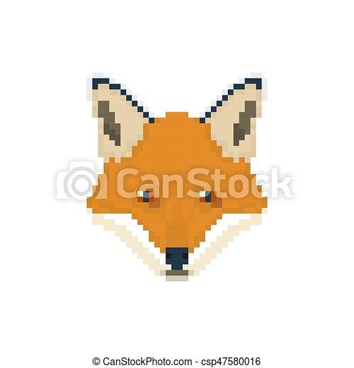 Fox Head In Pixel Art Style