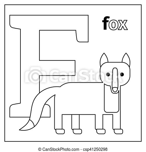 Fox, letter f coloring page. Coloring page or card for kids with ...