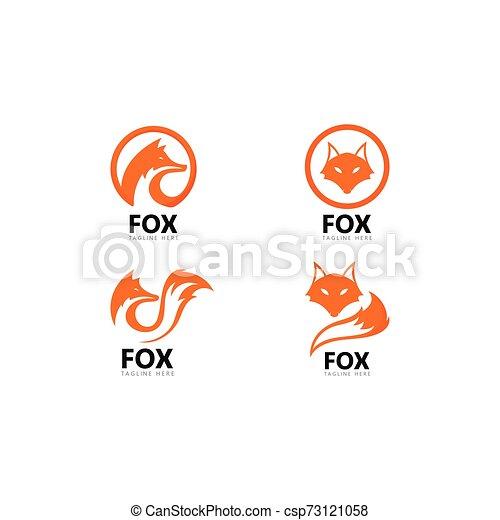 Fox logo template vector icon illustration - csp73121058