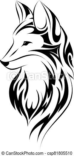 Fox tattoo simple design - csp81805510