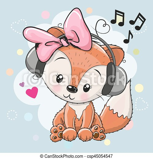 Fox with headphones and hearts - csp45054547